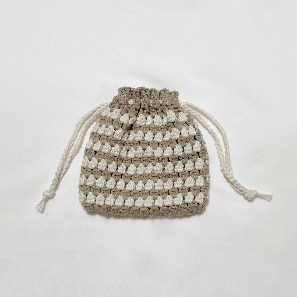 かぎ針編み 玉編みポーチ